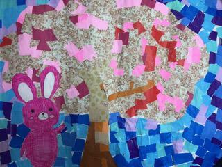 桜の貼り絵を作りました!